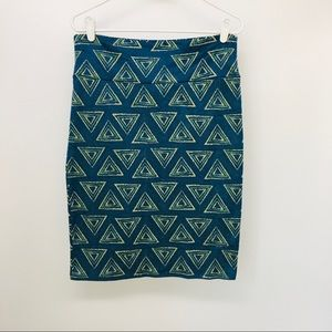 LuLaRoe Size L Print Pencil Skirt Triangles